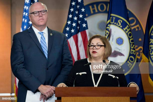 Democratic Caucus Vice Chairwoman Linda Sanchez with Democratic Caucus Chairman Joseph Crowley speaks during a press conference after a closed caucus...