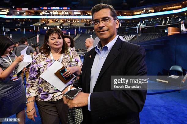 Democratic Caucus ViceChairman US Rep Xavier Becerra stands on the floor during preparations for the Democratic National Convention at Time Warner...