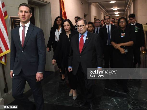 Democratic Chairman Jerry Nadler arrives to speaks to the press after the House Judiciary Committee's vote on House Resolution 755 Articles of...
