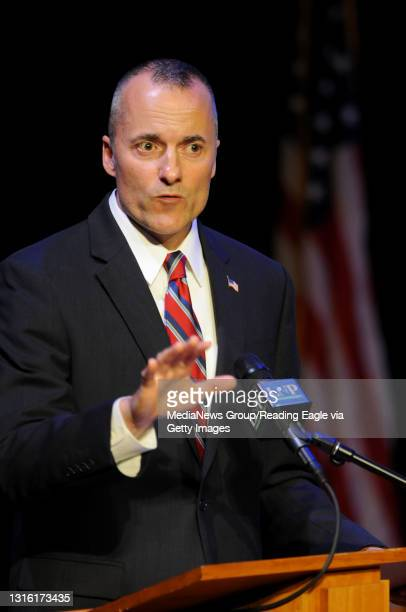 Democratic challenger Tom Houghton talks during a debate against Republican incumbent Joe Pitts at the Ware Center in downtown Lancaster. Photo by...