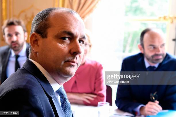 Democratic Confederation of Labour union's general secretary Laurent Berger poses for a photograph as he attends a meeting with French Prime Minister...