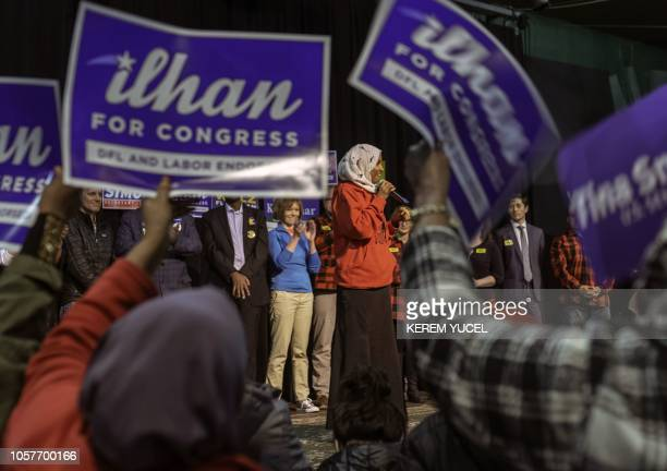 Democratic congressional candidate Ilhan Omar addresses supporters in Minneapolis Minnesota on November 5 2018 SomaliAmerican local state legislator...