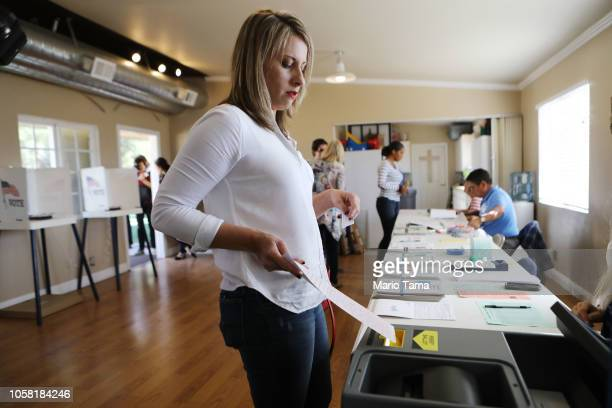 Democratic Congressional candidate Katie Hill casts her ballot while voting in California's 25th Congressional district on November 6, 2018 in Agua...