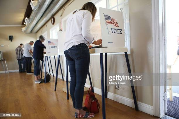 Democratic Congressional candidate Katie Hill fills out her ballot in a polling place in California's 25th Congressional district on November 6 2018...