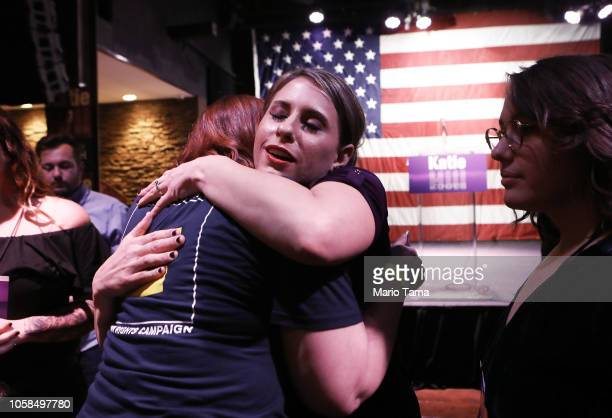 Democratic Congressional candidate Katie Hill hugs a supporter at her election night party in California's 25th Congressional district on November 6...
