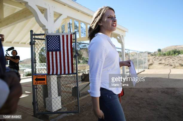 Democratic Congressional candidate Katie Hill prepares to enter a polling place to vote in California's 25th Congressional district on November 6...