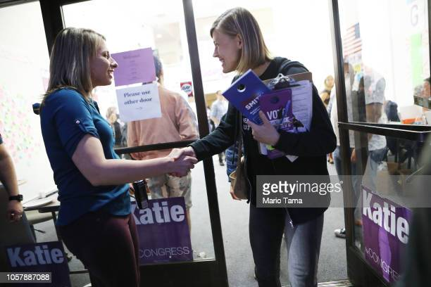 Democratic Congressional candidate Katie Hill shakes hands with a canvasser at a canvass launch at Hill's headquarters in California's 25th...