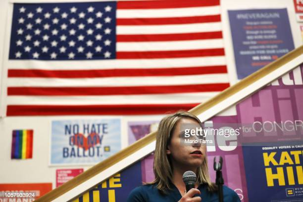 Democratic Congressional candidate Katie Hill speaks to supporters at a canvass launch in California's 25th Congressional district on November 5 2018...