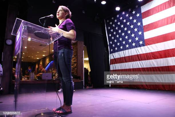Democratic Congressional candidate Katie Hill speaks to supporters at her election night party in California's 25th Congressional district on...