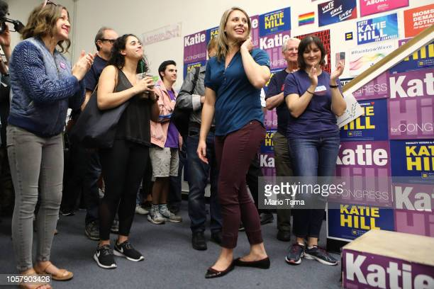 Democratic Congressional candidate Katie Hill stands with supporters at a canvass launch at Hill's headquarters in California's 25th Congressional...