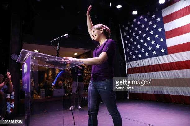 Democratic Congressional candidate Katie Hill waves to supporters at her election night party in California's 25th Congressional district on November...