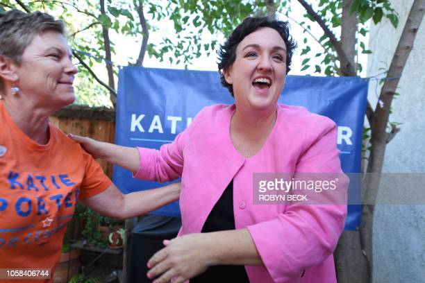 Democratic Congressional candidate Katie Porter greets supporters at an event in Irvine California on election day November 6 2018 Porter is running...