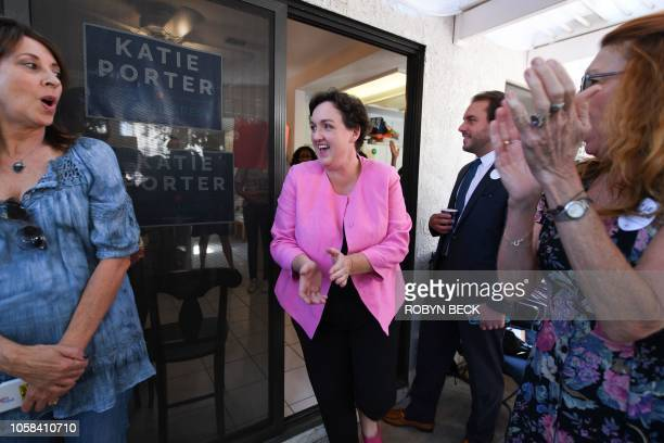 Democratic Congressional candidate Katie Porter is welcomed by supporters at an event in Irvine California on election day November 6 2018 Porter is...