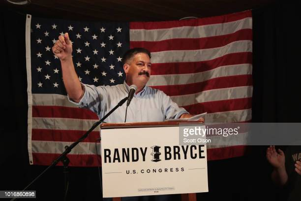 Democratic congressional candidate Randy Bryce speaks to supporters at an electionnight rally after being declared the winner in the Wisconsin...