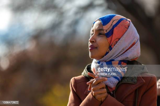 Democratic congressional candidate the Midterm elections Ilhan Omar speaks to a group of supporters at University of Minnesota in Minneapolis...