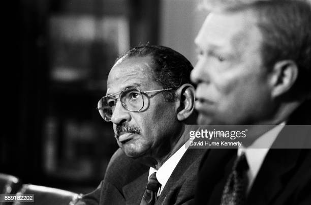 Democratic Congressman John Conyers of Michigan and House Minority Leader Richard Gephardt at a news conference in the office of House Speaker Newt...