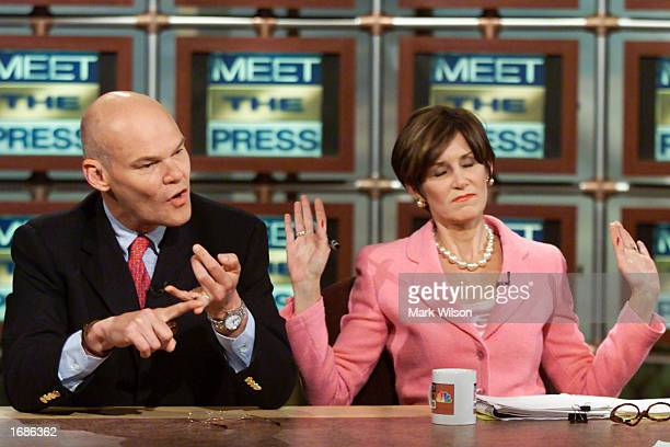 Democratic Consultant James Carville and his wife Mary Matalin discuss US President Bill Clinton and campaign 2000 on NBC's 'Meet the Press' May 28...
