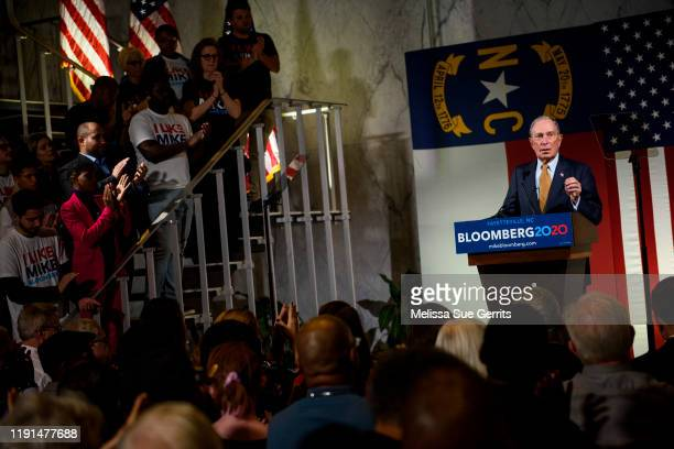 Democratic Democratic Presidential candidate Michael Bloomberg addresses a crowd of community members and elected officials at the Metropolitan Room...