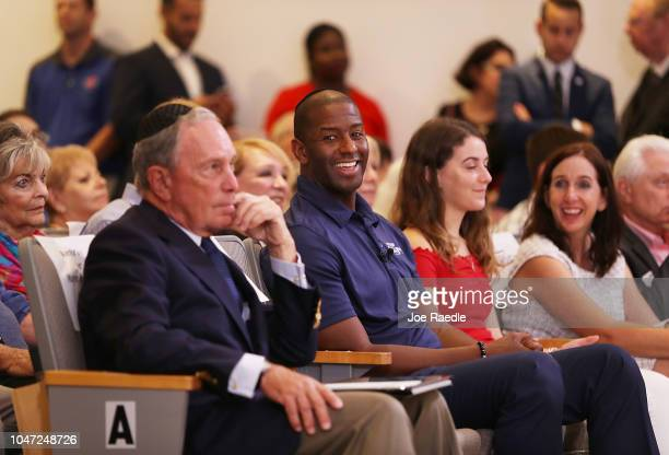Democratic Florida gubernatorial nominee Andrew Gillum and former New York City Mayor Michael Bloomberg attend a political event at the Century Pines...