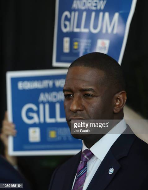 Democratic Florida gubernatorial nominee Andrew Gillum attends a campaign rally where he received the endorsement of three major national state and...