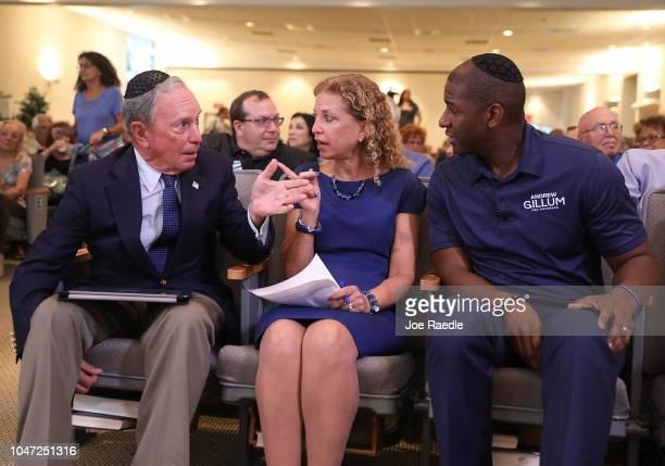 Democratic Florida gubernatorial nominee Andrew Gillum former New York City Mayor Michael Bloomberg and US Rep Debbie Wasserman Schultz attend a...