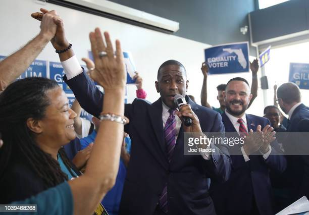Democratic Florida gubernatorial nominee Andrew Gillum greets wellwishers at a campaign rally where he received the endorsement of three major...