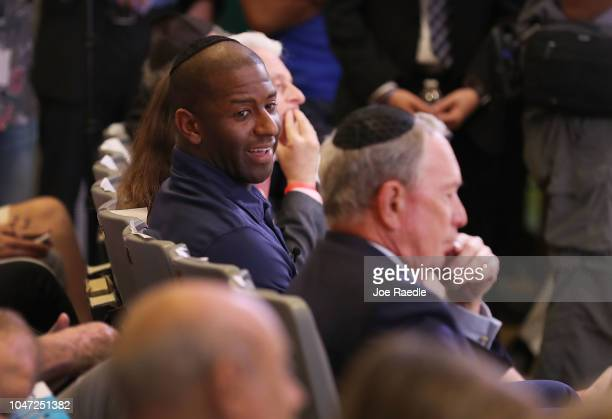 Democratic Florida gubernatorial nominee Andrew Gillum sits with former New York City Mayor Michael Bloomberg at a political event at the Century...