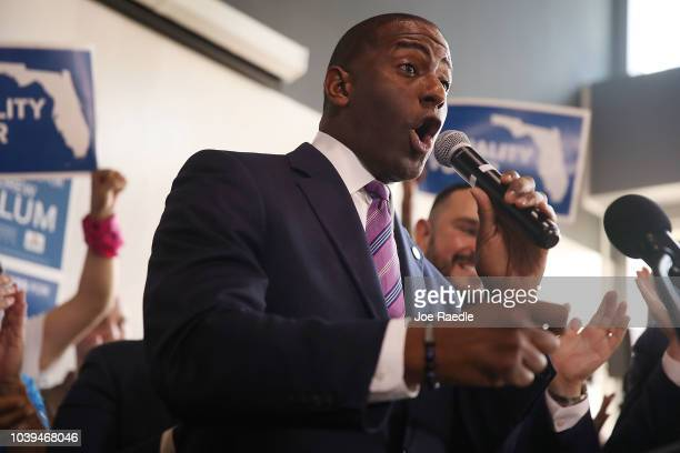 Democratic Florida gubernatorial nominee Andrew Gillum speaks at a campaign rally where he received the endorsement of three major national state and...