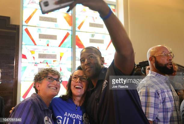Democratic Florida gubernatorial nominee Andrew Gillum takes a selfie with supporters at a political event at the Century Pines Jewish Center on...