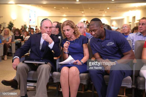Democratic Florida gubernatorial nominee Andrew Gillum US Rep Debbie Wasserman Schultz and former New York City Mayor Michael Bloomberg attend a...