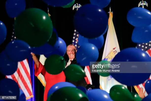 Democratic Govelect Phil Murphy celebrates during an election night rally on November 7 2017 in Asbury Park New Jersey Murphy was projected an early...