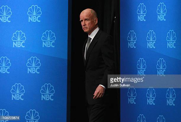 Democratic gubernatorial candidate and California State attorney general Jerry Brown looks on before the start of a debate with Republican...