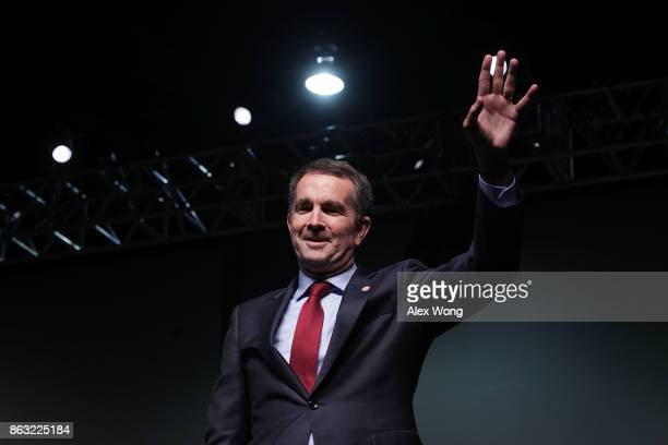 Democratic gubernatorial candidate and Virginia Lieutenant Governor Ralph Northam waves during a campaign event at the Greater Richmond Convention...