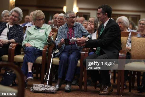 Democratic gubernatorial candidate and Virginia Lieutenant Governor Ralph Northam greets residents during a visit at Greenspring Retirement Community...