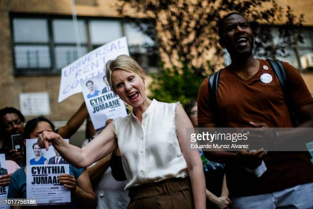 Democratic gubernatorial candidate Cynthia Nixon and Council Member Jumaane Williams attend a rally for universal rent control on August 16 2018 in...