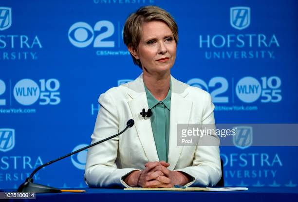 Democratic gubernatorial candidate Cynthia Nixon listens during a debate with New York Gov Andrew Cuomo at Hofstra University August 29 2018 in...