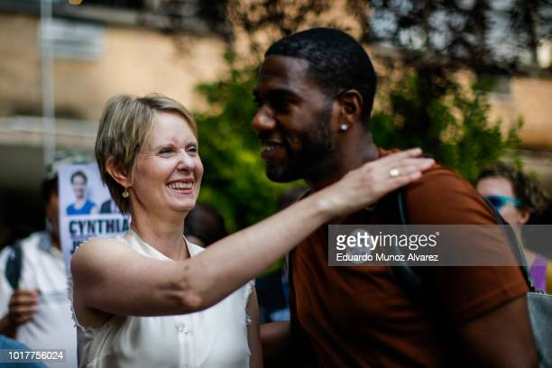Democratic gubernatorial candidate Cynthia Nixon exits after speaking in a rally for universal rent control on August 16 2018 in New York City...