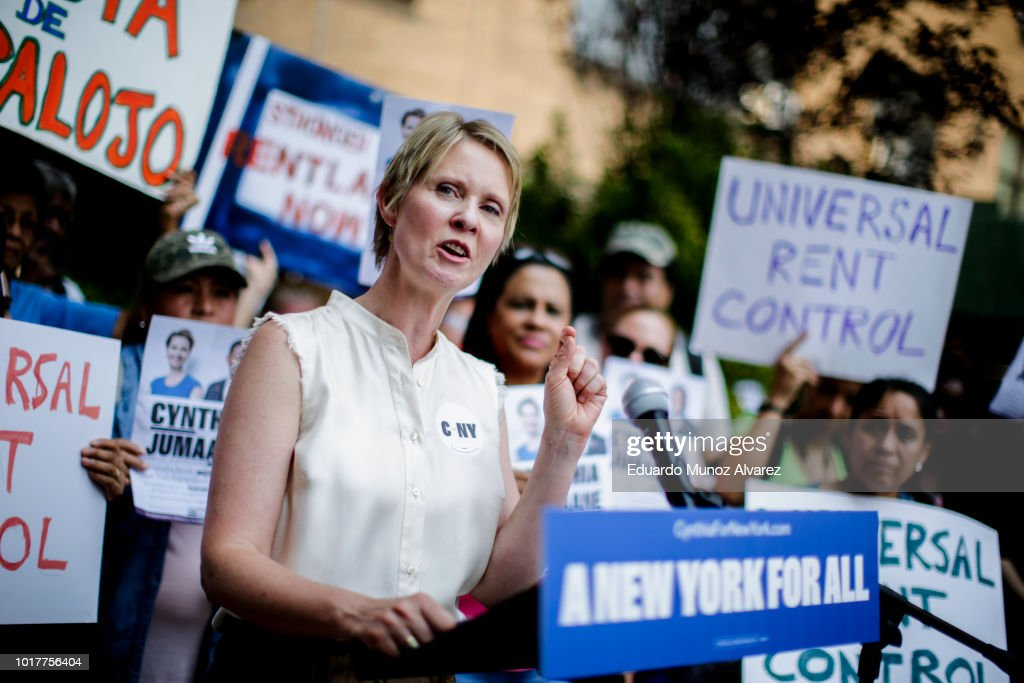Democratic Gubernatorial Candidate Cynthia Nixon  Rally For Universal Rent Control : News Photo