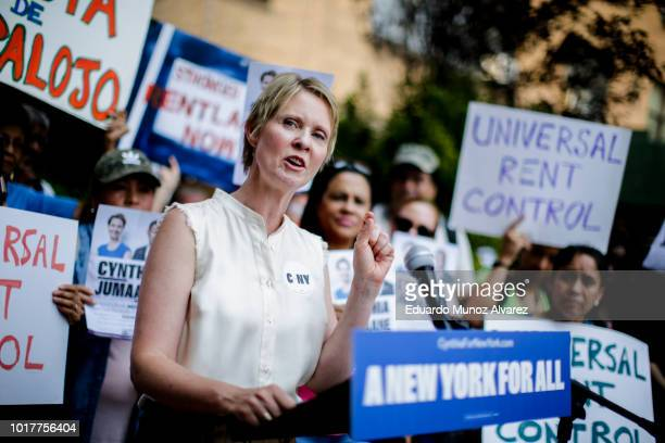 Democratic gubernatorial candidate Cynthia Nixon speaks to attendees during a rally for universal rent control on August 16 2018 in New York City...