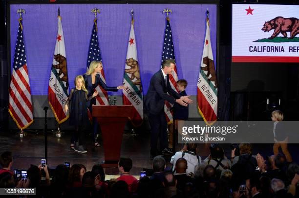 Democratic gubernatorial candidate Gavin Newsom are joined by their children son Dutch son Hunter wife Jennifer Siebel Newsom and daughter Montana...