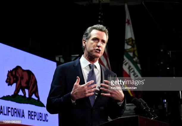 Democratic gubernatorial candidate Gavin Newsom speaks during election night event on November 6 2018 in Los Angeles California Newsom defeated...