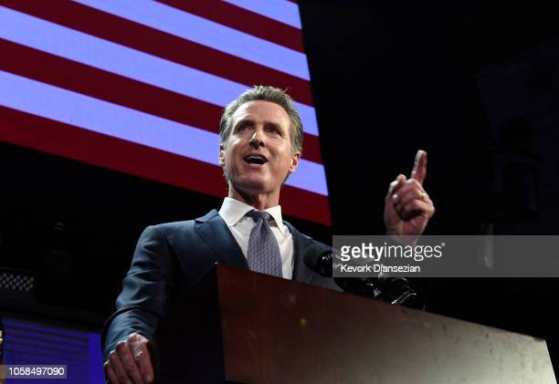 Democratic gubernatorial candidate Gavin Newsom speaks during election night event on November 6, 2018 in Los Angeles, California. Newsom defeated...