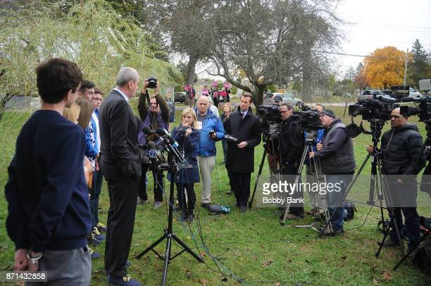 Democratic gubernatorial candidate Phil Murphy holds a news conference with his family after voting on election day November 7 2017 in Asbury Park...