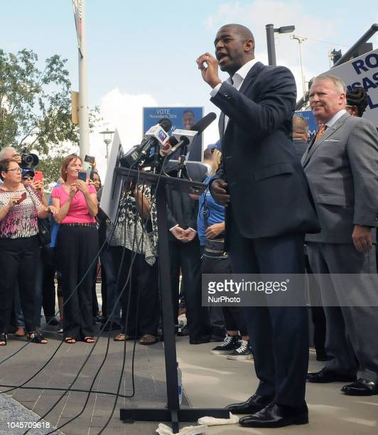 Democratic gubernatorial nominee Andrew Gillum speaks at a campaign event on October 4 2018 beside Interstate 4 in downtown Orlando Florida Gillum...