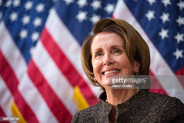 Democratic House Leader Nancy Pelosi participates in an annual Women's History Month reception hosted by Pelosi in the US capitol building on Capitol...