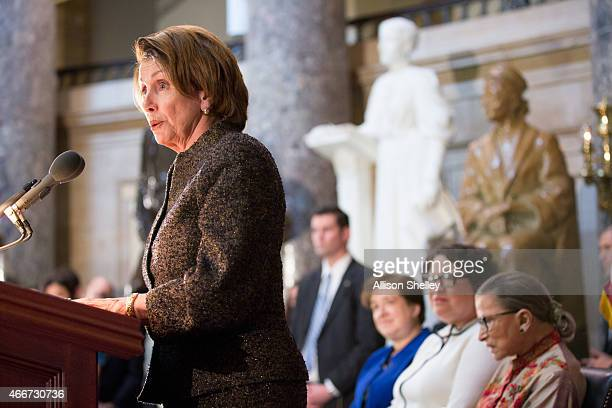 Democratic House Leader Nancy Pelosi speaks at an annual Women's History Month reception hosted by Pelosi in the US capitol building on Capitol Hill...