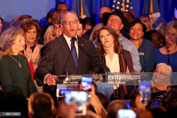 Democratic incumbent Governor John Bel Edwards speaks to a crowd at the Renaissance Baton Rouge Hotel on November 16 2019 in Baton Rouge Louisiana...