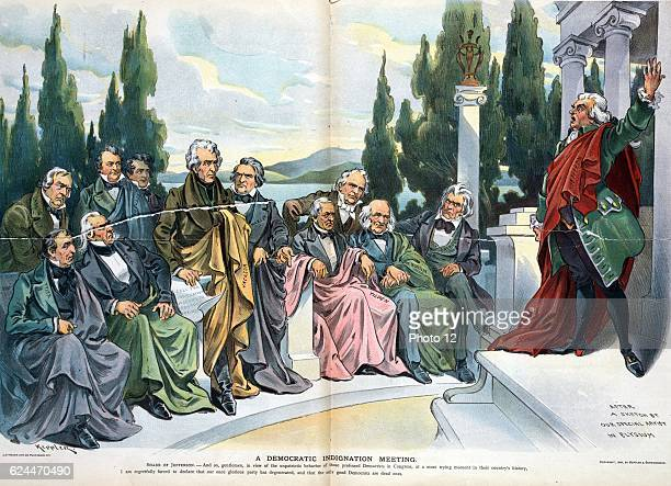 A Democratic Indignation Meeting 1899 March Print of Thomas Jefferson speaking to a gathering of ghosts including John Tyler Lewis Cass James K Polk...