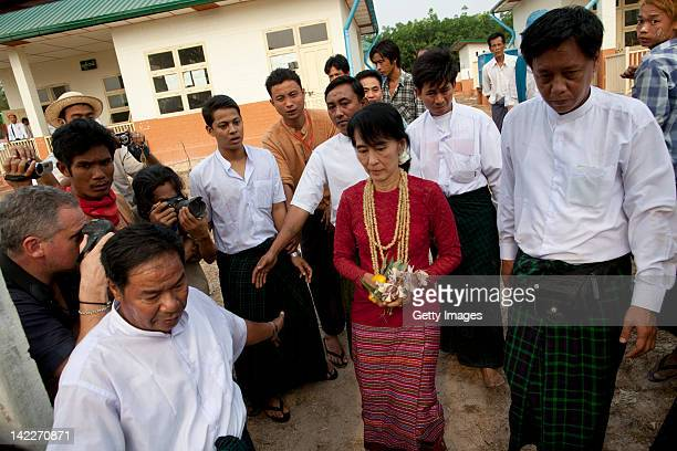 Democratic leader Aung San Suu Kuy visits polling stations in her constituency as the Burmese people vote in the parliamentary elections April 1st,...
