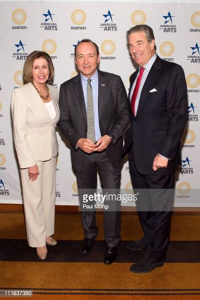 Democratic Leader Nancy Pelosi Academy Awardwinning actor Kevin Spacey and Paul Pelosi pose for a photo at the 24th Annual Nancy Hanks Lecture on...